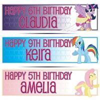 """2 PERSONALISED MY LITTLE PONY BIRTHDAY BANNERS 36 """"x 11"""" - ANY NAME, ANY AGE"""