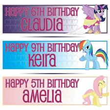 "2 PERSONALISED MY LITTLE PONY BIRTHDAY BANNERS 36 ""x 11"" - ANY NAME, ANY AGE"