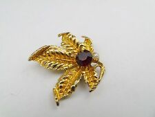 Vintage Garnet Pearl Large Leaf Flower Badge Pin Brooch