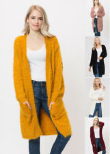 S M L Women's Cardigan Sweater Soft Plush Long Oversized Open Front Pockets