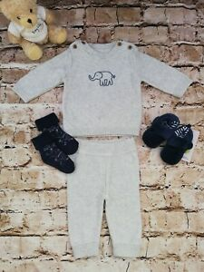 Baby Boys Marks & Spencer Grey Knit Trousers & Top Set Age 0-3 Months