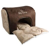 Cuccia a casetta marrone in alcantara morbidissima per cani e gatti lavabile