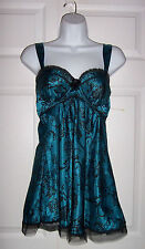 Women's Medium Pretty  Night Gown Turquoise Blue Black Lace Intimate Apparel