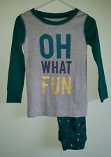 NWT Old Navy Boys 3T Long Sleeve Pajamas HOLIDAY Green OH WHAT FUN Trees #321316