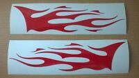 """small red 8x2"""" flames x2 vinyl side graphics tank forks motorbike,car sticker"""