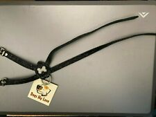 Dog Harness Leather Rhinestones Black Small Size B Chest 10""