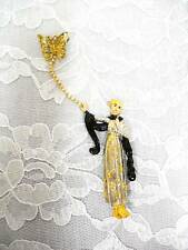 REAL VINTAGE FRANKLIN MINT MADAME BUTTERFLY / GODDESS IN GOWN BROOCH 24k TRIM