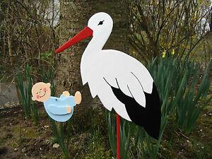 Storch (60cm aufgebaut) Klapperstorch aus Holz mit Baby (in Wunschfarbe)