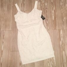 NWT Guess 14 White Silver Keyhole Cut Out Bodycon Cocktail Party Dress