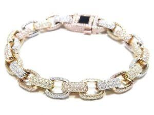 Mens 14k Multi Gold 13.00ct White Round Cut Diamond Solid Hermes Link Bracelet