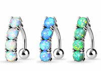 Reverse 4 Opal Stone Belly Ring Pierced Navel Naval Clear, Blue, Green