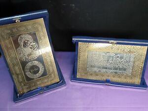 HAUSALTAR 2x Altarbild = Abendmahl + Maria / Madonna sakral Metall in Schatulle