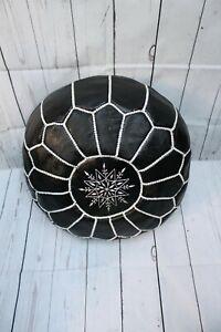 Authentic Round Black Leather Moroccan Pouf, Ottoman Pouf