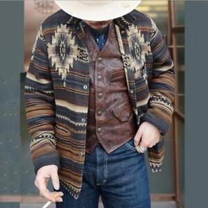 Men's Youth Fashion Ethnic Style Printed  Blazer Casual Jacket Coat Outwear SKGB