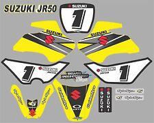 Suzuki JR50 BLACK Graphics Decals Fullset laminated stickers motocross
