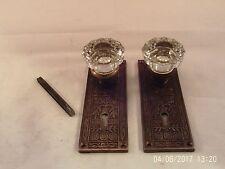 Antique 12 pt Glass Door Knob Set Mortise Lock Key Door Set  8 sets avail. #725