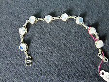 Moonstone and Silver Bracelet 7.5 ins Sterling Silver 10 mm Rounds Lobster Clasp