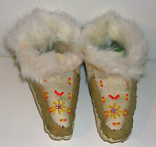 Vintage Hand Made Childs Deer Skin Leather Beaded Moccasins with Rabbit Fur Trim