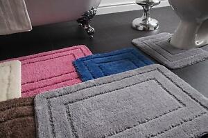 2pc Bath Mat & Toilet Pedestal Set Non-Slip Supersoft Microfibre Bathroom Luxury
