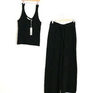 Decjuba Lounge Set Singlet Top Flared Pants Black Fluffy Fleece Stretch Size M