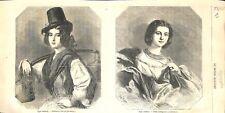 Costume porteuse d'eau et robe de jeune bourgeoise de Venise Italie GRAVURE 1857
