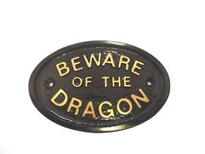 BEWARE OF THE DRAGON - HOUSE DOOR PLAQUE WALL SIGN GARDEN BLACK/GOLD LETTERS