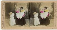 Crazy Lady w 3 Giant Porcelain Dolls 1890s Colored Stereoview / Webster & Albee