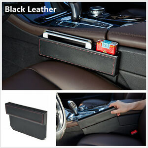 1xPU Leather Car Seat Gap Slit Filler Pocket Catch Catcher Box Storage Organizer
