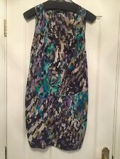 Oasis Silk Mini Dress Worn Once Size 8 Graphic Print Green Blue Purple Black