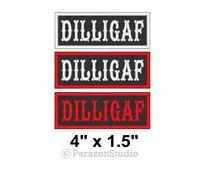"Custom DILLIGAF Sew on Patch Motorcycle Biker Vest Tag Badge 4"" x 1.5"" (B)"