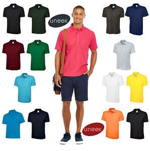 Mens Classic Uneek Polo Shirt Work Wear Plain Style UC101 S,M,L,XL,XXL,