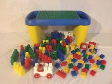 LEGO Duplo Storage Play Table+ 75 Duplo & LEGO Blocks People & Car LOT *FASTSHIP