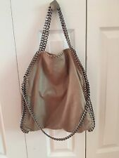 Pre-Loved Stella McCartney Falabella Shaggy Deer Fold Over Tote Bag Taupe Beige