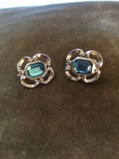 VINTAGE CLIP ON EARRINGS SILVER TONE WITH LIGHT TOPAZ BLUE COLOR CENTER STONE