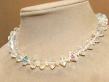 VTG 50s Diamond Shape Clear Cut Aurora Borealis Crystal Choker Necklace 15.75""