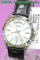 MTP-1370L-7A White Casio Men's Watches Date Display 50m Leather Band Brand-New