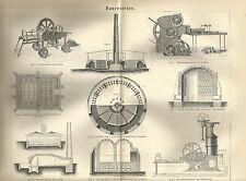 1888 MAUERSTEINE Original alter Druck Antique Print Litho Clayton Jordan Ofen