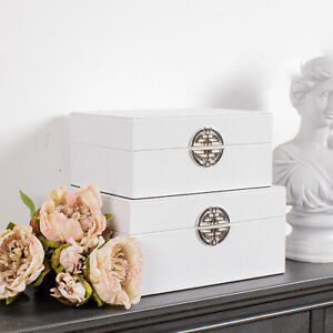 Set of 2 White Boxes Storage Faux Leather Trinket Metal Decorative Home Chic