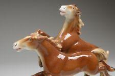 2 Pferde im Galopp Pferdegruppe Figur Porzellan Gräfenthal Thüringen tadellos