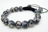Men's Shambhala bracelet all 10mm NATURAL DRAGON VEINS AGATE stone beads