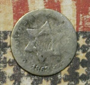 1853 THREE CENT SILVER COLLECTOR COIN. FREE SHIPPING