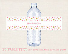 Twinkle Star Water Bottle Labels Pink and Glitter Printable Editable PDF
