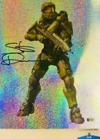 Steve Downes signed Master Chief  11X14 GLITTER photo HALO BAS M62311