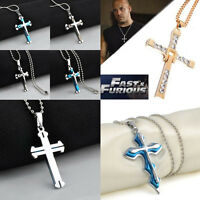 Fashion Women Men Silver Stainless Steel Cross Pendant Necklace Chain Jewelry