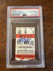 Wendel Clark Signed Ticket Stub PSA DNA Coa Slabbed Encapsulated Maple Leafs