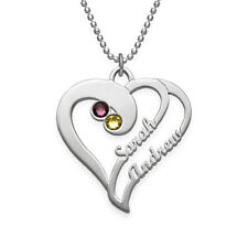Two Hearts Necklace - Silver with Swarovski Birthstones -Personalized USA Seller