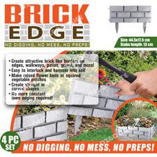 Brick Edge Garden Edging 4-Pack Grey  easy to interlock hammer into soil