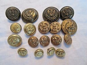 18 Vintage Brass Eagle Military Navy Button Lot Matched Sets