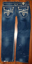 MENS ROCK REVIVAL ELDON STRAIGHT DISTRESSED FLAP POCKET JEANS SIZE 40X35