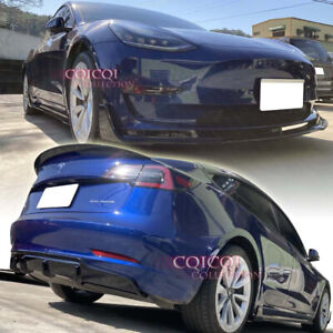 Gloss Black body kit for Tesla 17~21 Model3 front spoiler side skirt diffuser ◎